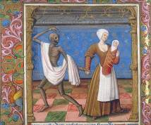 Danse macabre, France, fin du XVè siècle - Paris, BnF, départements des Manuscrits, Français 995, fol. 34v.