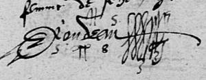 Signature de RONDEAU en 1558- Cheviré-le-Rouge
